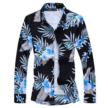 Men Long Sleeves Hawaiian Casual Floral Shirt