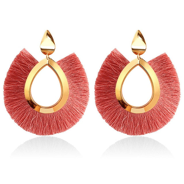 Women Fashion Bohemian Big Tassel Dangle Drop Earrings
