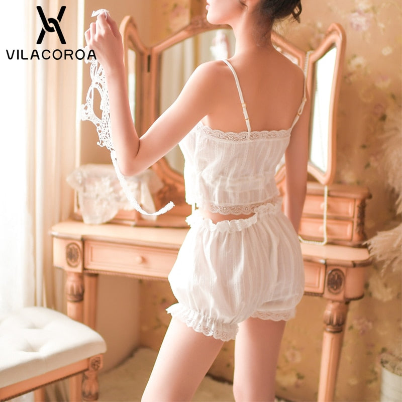 Women Sexy Spaghetti Strap Lace Embroidered Nightwear