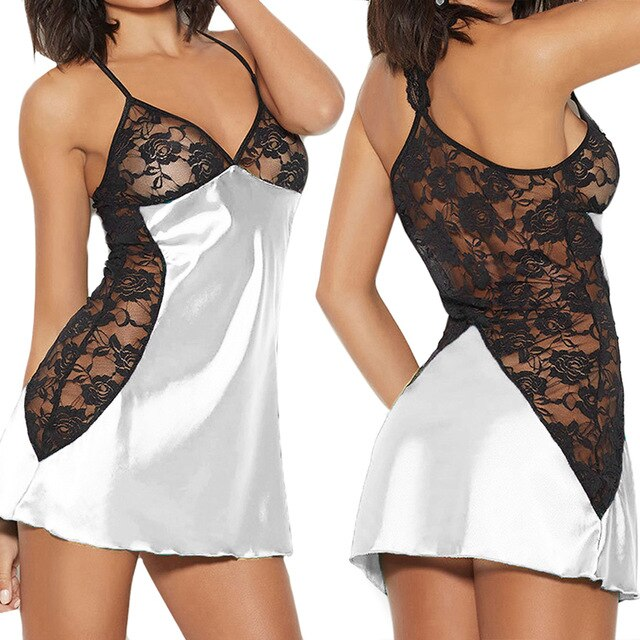Sexy Lace Perspective Babydoll Women Nightwear