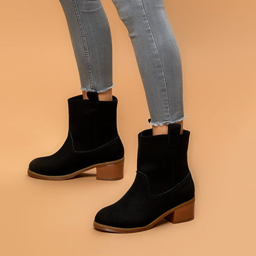 New Design Women Khaki Leather Ankle Boots