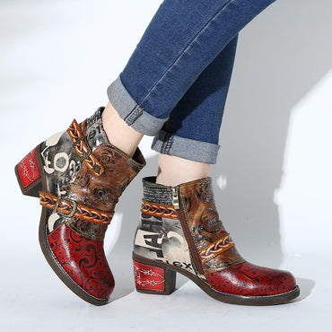 Women Genuine Leather Splicing Elegant Embossed Boots