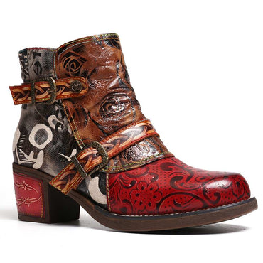 Women Embossed Rose Genuine Leather Splicing Ankle Boots