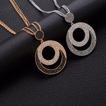 Woman Geometric Big Circle Crystal Pendant Necklace