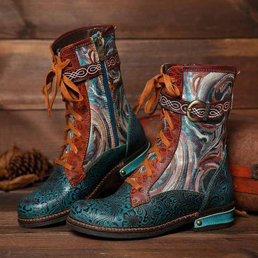 Women Embossed Genuine Leather Splicing Fancy Pattern Lace Up Boots