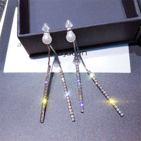 Long Tassel Crystal Rhinestone Earring Exquisite Pearl