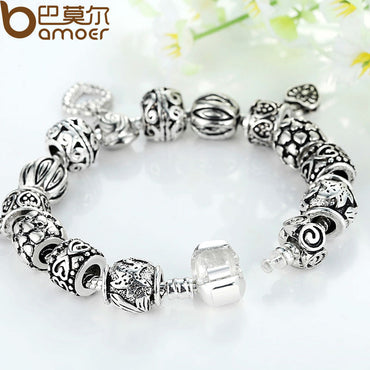 Women Antique Silver Heart Vintage Charm Bracelet