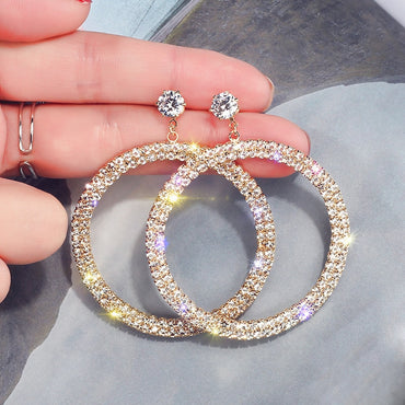 Luxury Diamond Hyperbole Round Women Dangle Earrings