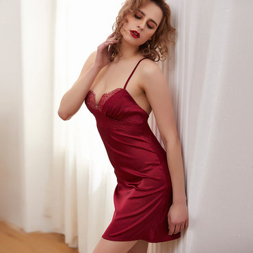 Sexy Lace Women Satin Deep V Neck Mini Nightgown