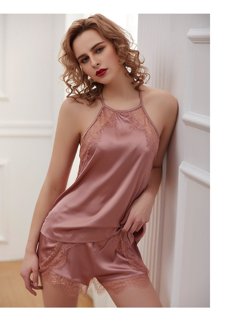 Women Satin Sexy Lace Loose Sleeveless Nightgown