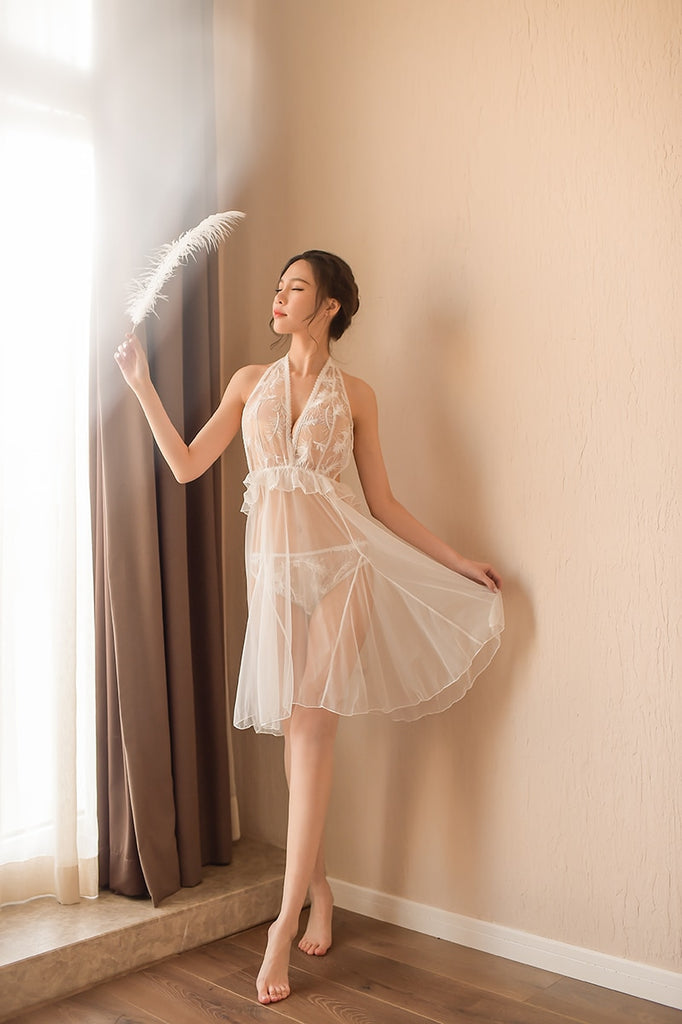Women Sexy V Neck Mesh Embroidered Ruffled Nightwear