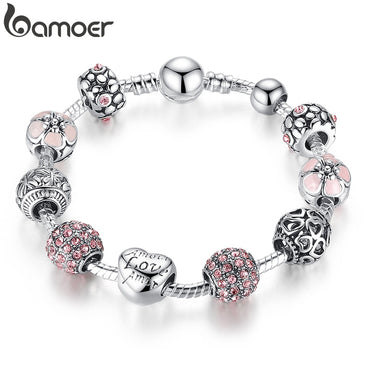 Love and Flower Beads Women Silver Charm Bracelet