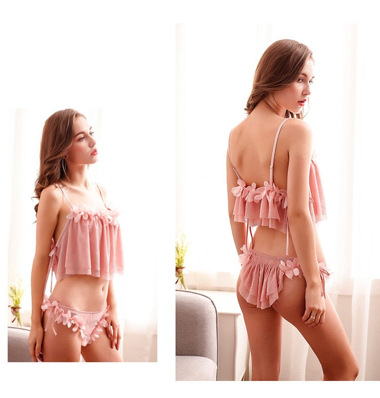 Women Sexy Thin Transparent Backless Pajamas Set