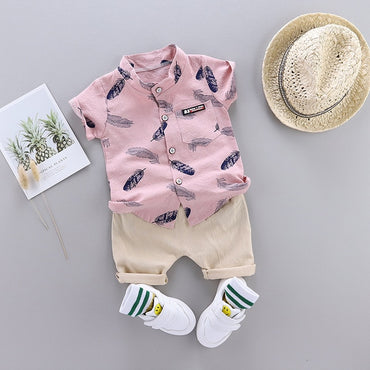 Baby Boy Clothes Set Feather Print Shirt and Cotton Shorts