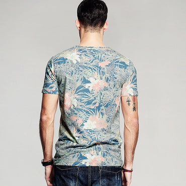 Fashion Design Men Cotton Print Short Sleeve T-Shirt
