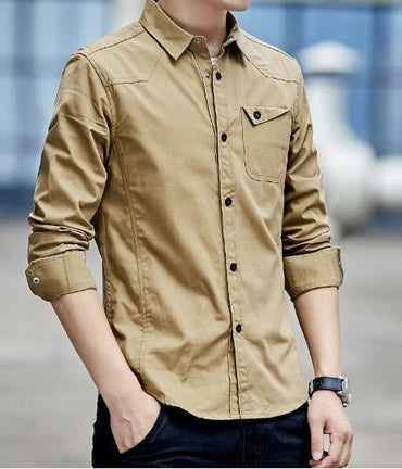 Hight Quality Cotton Men Long Sleeve Casual Shirt