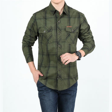 Men Plus Size Cotton Long Sleeve Military Shirt