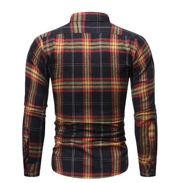 Men Double Pocket Slim Plaid Long Sleeve Shirt