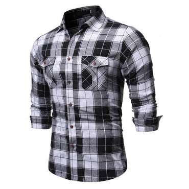 Men Casual Lapel Long Sleeve Shirt