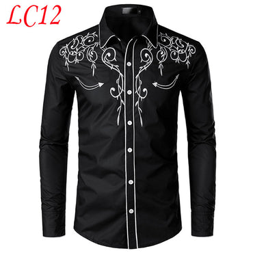 Elegant Design Men Slim Fit Embroidery Long Sleeve Shirt