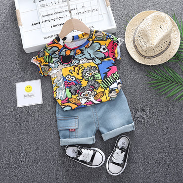 Baby Boy Clothes Set Cartoon Print T-Shirt and Denim Shorts Boy Outfit Set