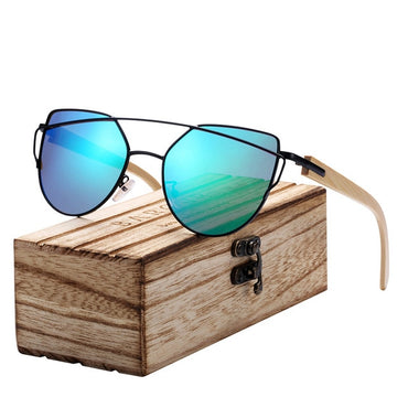 Fashion Design Women Bamboo Frame Cat Eye Sunglasses