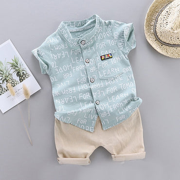 Baby Boy Outfit Set Letter Print Shirt and Pants Kids Boy Clothes