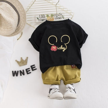 Baby Boy Clothing Set Cotton Cartoon Print T-Shirt and Shorts Pants