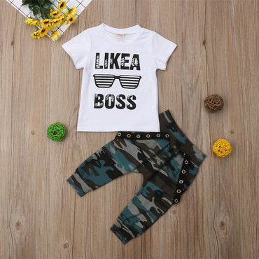 Kids Boy Cute Outfits Set Short Sleeve T-Shirt and Pants Boy Clothing