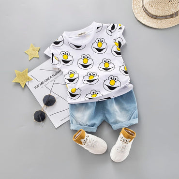 Baby Boy Clothing Set Cute Cartoon T-Shirt with Denim Shorts