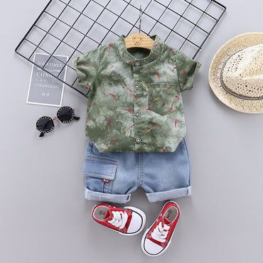 BbBoys Clothes Set Fashion Print Tops and Denim Shorts Outfit Set