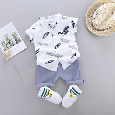 Baby Boy Clothing Set Fashion Feather Print and Cotton Shorts