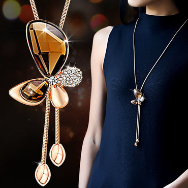 Women Classic Crystal Butterfly Tassel Long Necklace