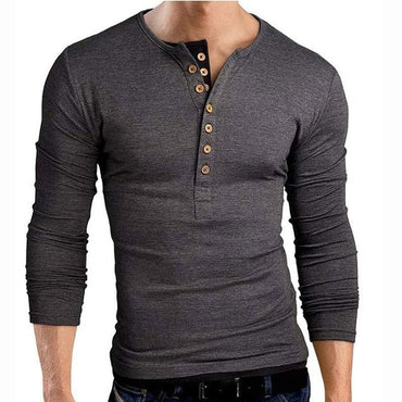 Hot Fashion Men Double V Neck Henley Long Sleeve TShirt