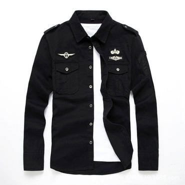 Cool Fashion Men Military Style Long Sleeve Cotton Shirt