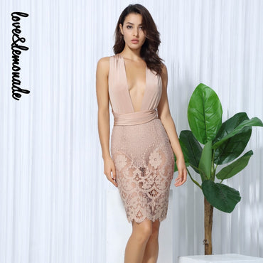 Nude Color Deep V Collar Serene Lace Party Dress