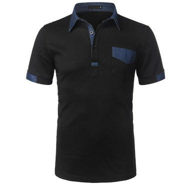 Hot Fashion Men Patchwork Single Breasted Short Sleeve Slim Fit Polo Shirt
