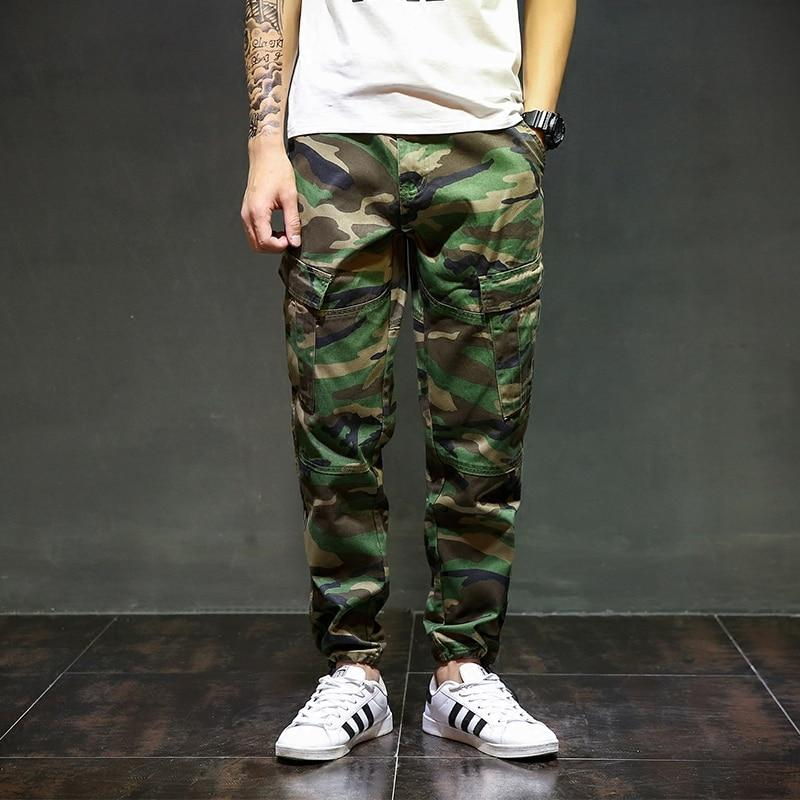 High Street Fashion Men Camouflage Denim Ankle Banded Pants