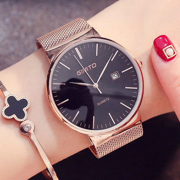 Fashion Rose Gold Women Simple Stylish Luxury Wristwatch