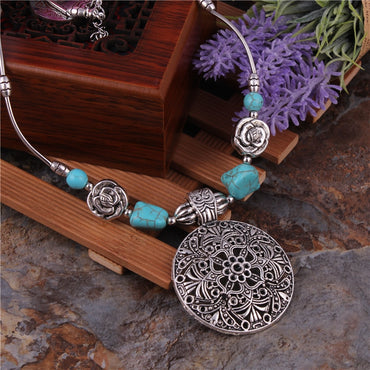 Women Bohemian Carved Tibetan Silver Stone Vintage Necklace