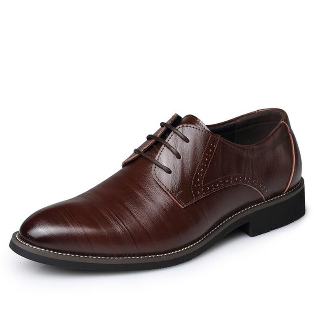 Men Dress Shoes Top Quality Genuine Leather Brogues Lace-Up Bullock Oxfords Shoes