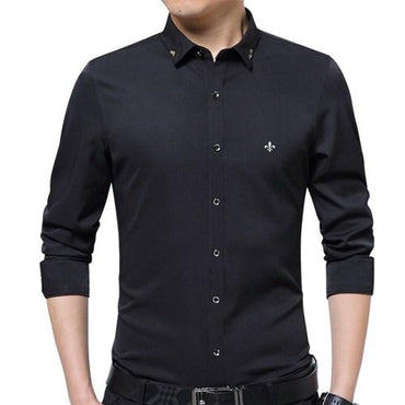 Embroidery Men Fashion Slim Fit Long Sleeve Shirt