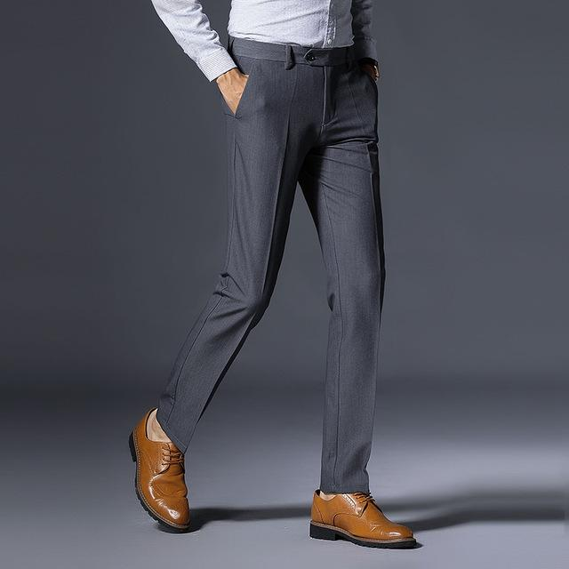 Brand Design Men Classics Midweight Straight Full Length Fashion Dress Pants