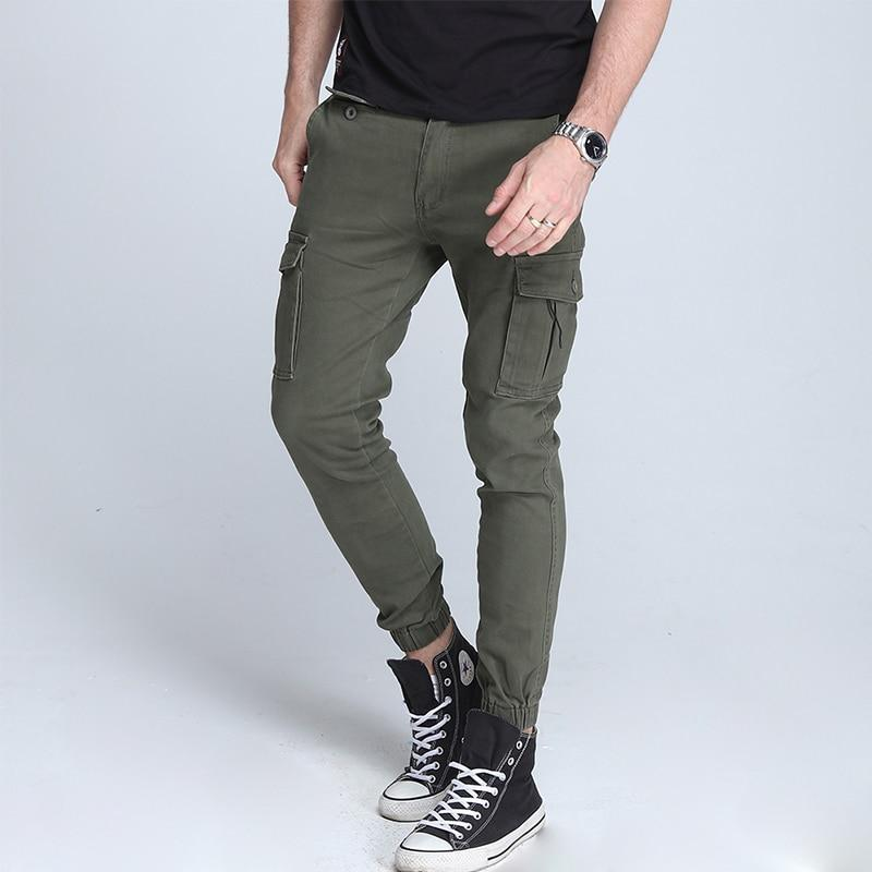 Men Cargo Pants Elastic Foot Close Skinny Tactical Multi-pocket Pants