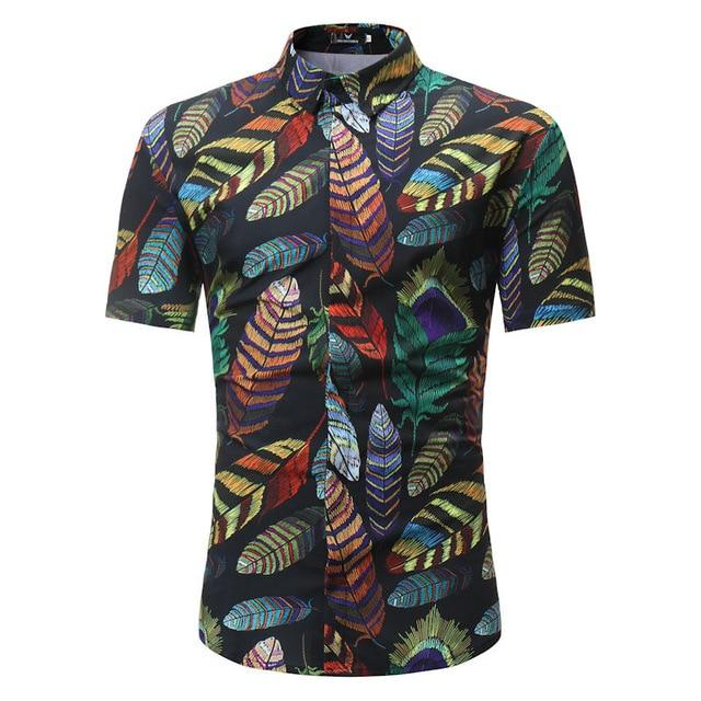 Men Fashion Style Short Sleeve Hawaiian Shirt