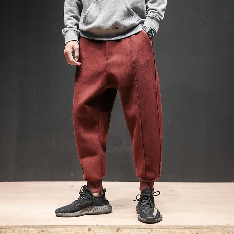 Solid Color Line Thickening Woolen Leisure Men Jogger Pants
