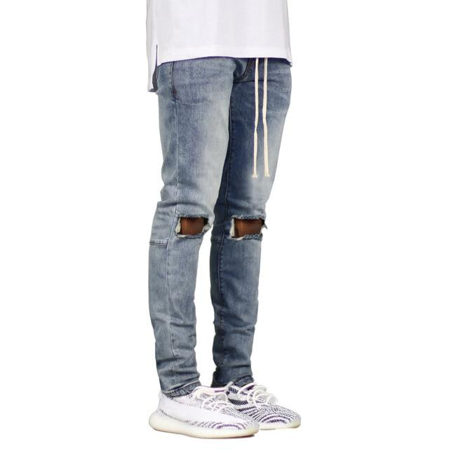 Men Jeans Fashion Stretch Hole Ripped Jean Hip Hop Style
