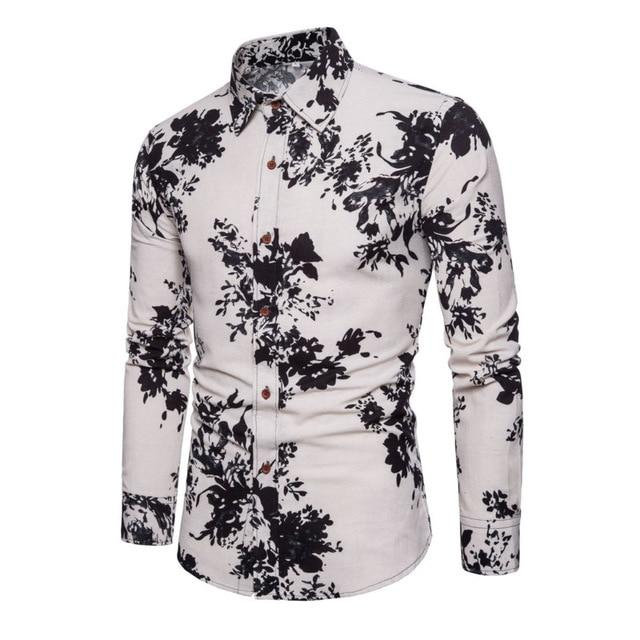 Luxury Fashion Men Slim Fit Flower Print Linen Long-sleeved Shirt