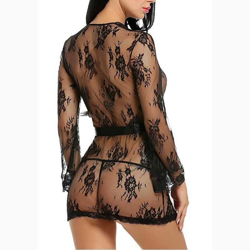 Women Sexy Transparent Lace Kimono Nightwear