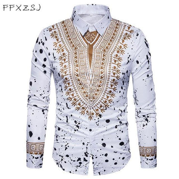 Luxury Fashio 3D Floral Pattern Men Fashion Long Sleeve Shirt
